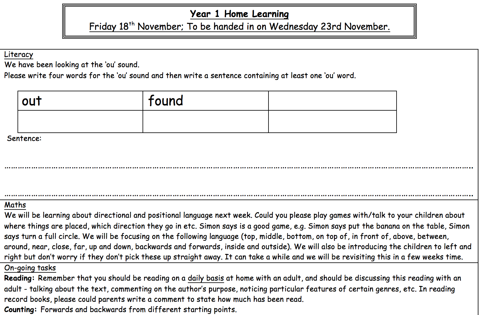homelearning wk3